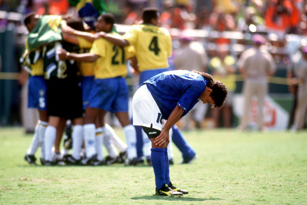 Baggio misses the decisive penalty kick at the 1994 FIFA World Cup.