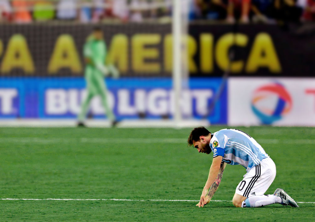 Messi misses his penalty kick at the 2016 Copa America.